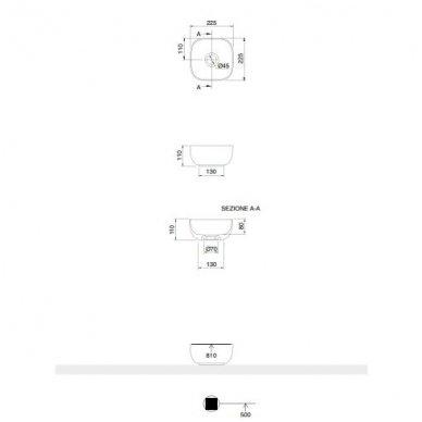 Scarabeo Glam labai mažas pastatomas praustuvas, 22,5 x 22,5 cm, baltas 2