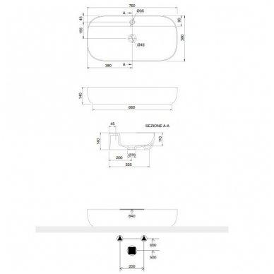 Scarabeo Glam pastatomas praustuvas, 76 x 38 cm, baltas 2