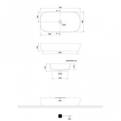 Scarabeo Glam pastatomas praustuvas, 76 x 39 cm, baltas 3