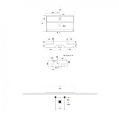 Scarabeo Teorema pakabinamas praustuvas, 60 x 34, baltas 2