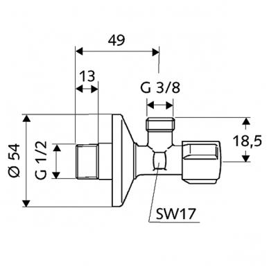 "Schell kampinis ventilis, 1/2"" x 3/8"" 2"