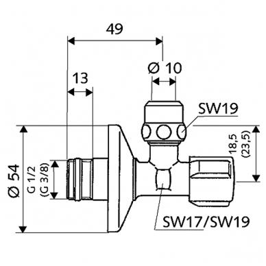 "Schell kampinis ventilis, 1/2"" x 3/8"", d-10mm 2"