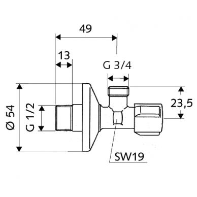 "Schell kampinis ventilis COMFORT, 1/2"" x 3/4"" 2"