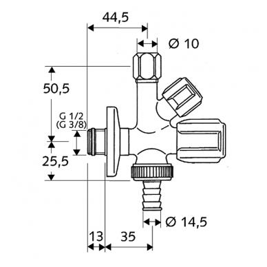 "Schell kombinuotas kampinis ventilis, 1/2"" x 3/8"", d-10mm, ir 3/4"" 2"