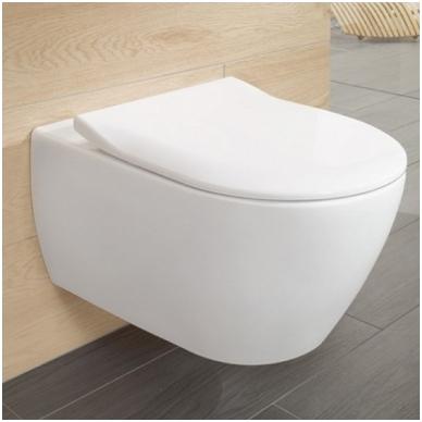 Villeroy & Boch Subway 2.0 pakabinamas WC su DirectFlush technologija, su SlimSeat lėtai nusileidžiančiu dangčiu, baltas