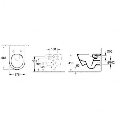 Villeroy & Boch Subway 2.0 pakabinamas WC su DirectFlush technologija, su SlimSeat lėtai nusileidžiančiu dangčiu, baltas 3