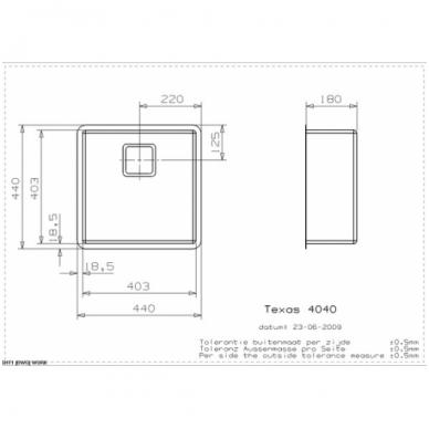 Reginox Texas L virtuvinė plautuvė, 44 x 44, nerūdijančio plieno 2