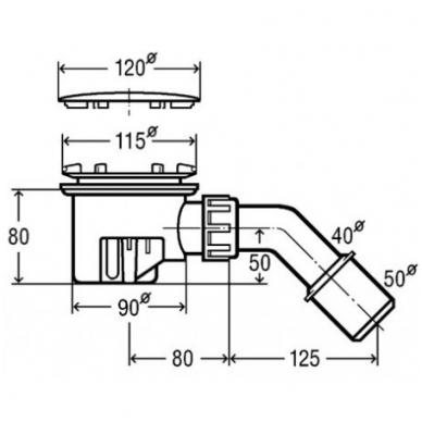 Viega Tempoplex sifonas dušo padėklui, d-90 mm, chromuotas 2