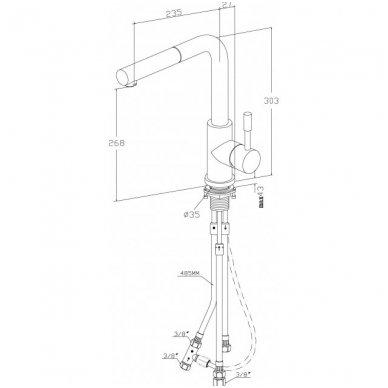Villeroy & Boch Steel Shower ištraukiamas virtuvinis maišytuvas, nerūdijančio plieno spalvos 3