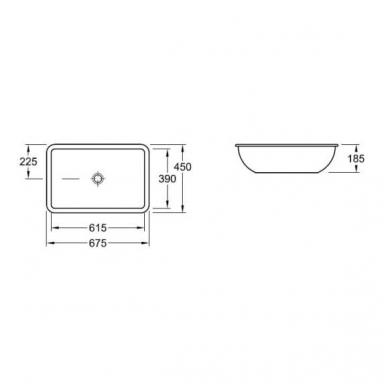 Villeroy & Boch Loop & Friends iš apačios montuojamas praustuvas, 61,5 x 38 cm, baltas 2