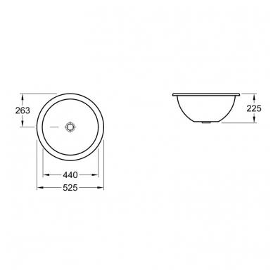 Villeroy & Boch Loop & Friends iš apačios montuojas praustuvas, Ø 44 cm, baltas 2