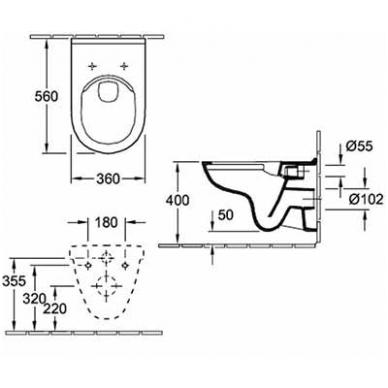 Villeroy & Boch O.Novo pakabinamas WC, su DirectFlush ir lėtai nusileidžiančiu dangčiu, baltas 3