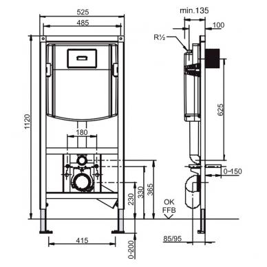 Villeroy & Boch ViConnect rėmo ir O.Novo pakabinamo WC su DirectFlush komplektas 2