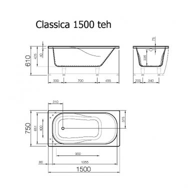 Vispool Classica akmens masės vonia, 150 x 75 cm, su sifonu, balta 3