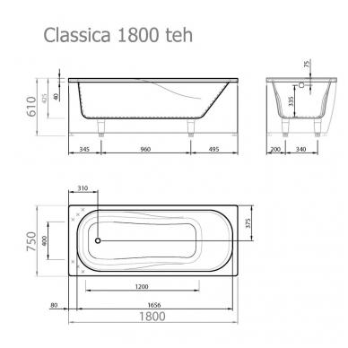 Vispool Classica akmens masės vonia, 180 x 75 cm, su sifonu, balta 3