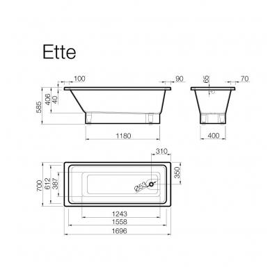 Vispool Ette akmens masės vonia, 170 x 70, balta 2