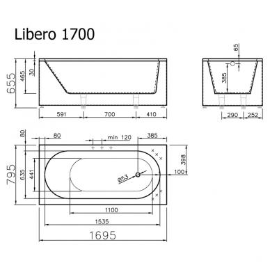 Vispool Libero akmens masės vonia, 170 x 80 cm,su sifonu, balta 3