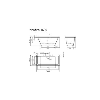 Vispool Nordica akmens masės vonia, 160 x 75, balta 2