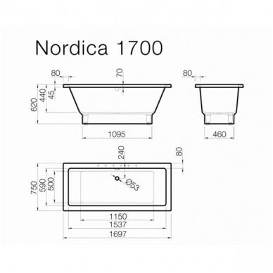 Vispool Nordica akmens masės vonia, 170 x 75 cm, balta 2