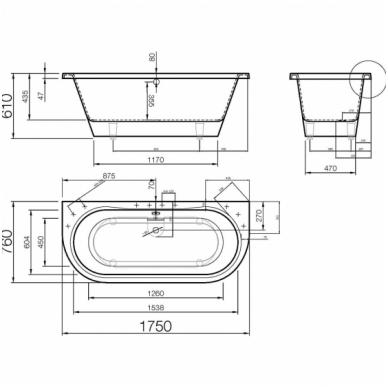 Vispool Onda akmens masės vonia,175 x 76, balta 2