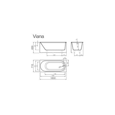 Vispool Viana akmens masės vonia, 160 x 72 cm, balta 2